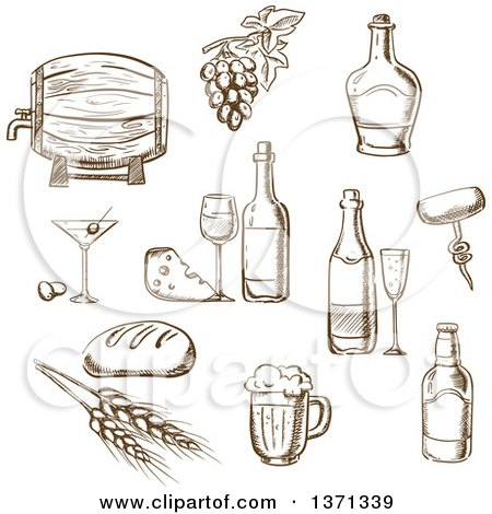 Clipart of Brown Sketched Wine and Foods - Royalty Free Vector Illustration by Vector Tradition SM