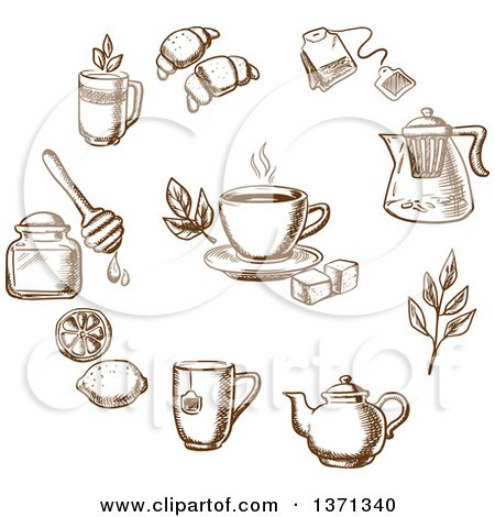 Brown Sketched Tea and Goods Posters, Art Prints