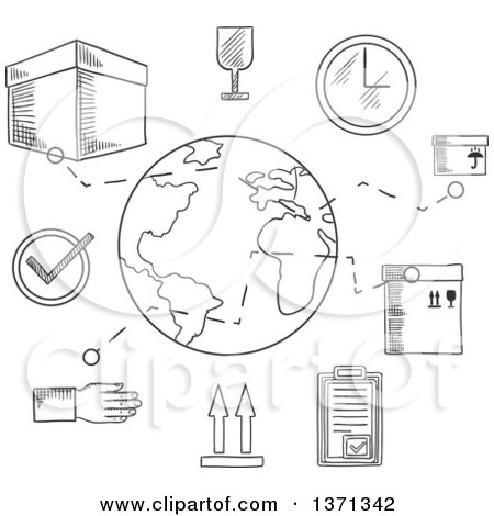 Clipart of a Black and White Sketched Ardboard Boxes with Packaging Symbols, Order List and Clock with Globe and Caption Shipping Below - Royalty Free Vector Illustration by Vector Tradition SM