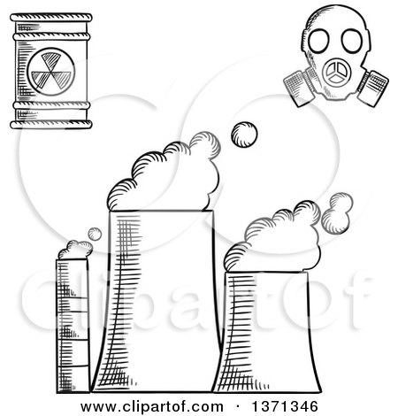 Clipart of a Black and White Sketched Power Plant, Radioactive Waste and Gas Mask - Royalty Free Vector Illustration by Vector Tradition SM