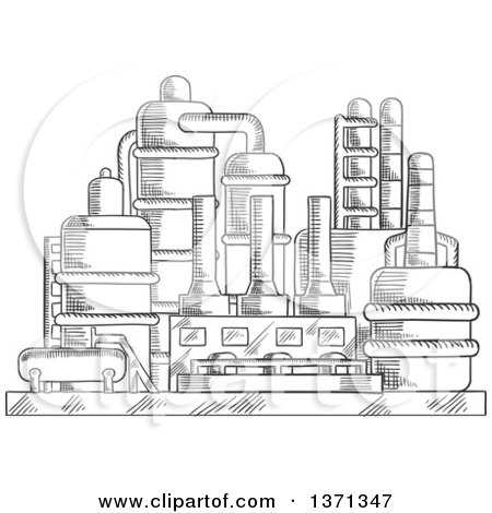 Clipart of a Black and White Sketched Industrial Plant - Royalty Free Vector Illustration by Vector Tradition SM