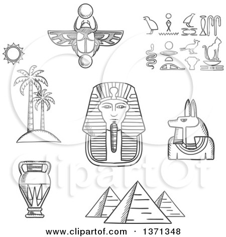 Clipart of a Black and White Sketched Giza Pyramids, Pharaoh Golden Mask, Ancient Hieroglyphics, Scarab Amulet, Anubis God, Amphora and Beach Landscape of Palm Trees with Sun - Royalty Free Vector Illustration by Vector Tradition SM