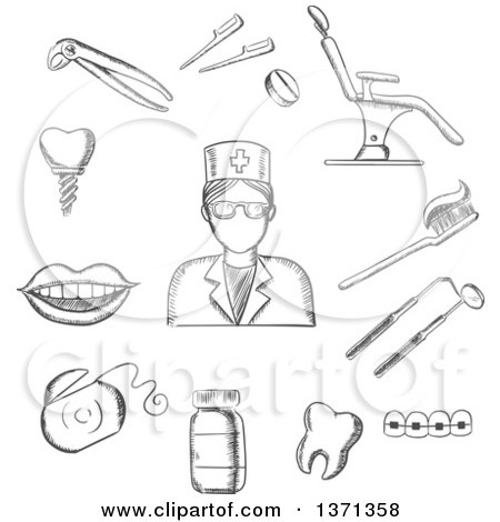 Clipart of a Black and White Sketched Dentist in Glasses, Dental Equipment and Hygiene Icons with Toothy Smile, Chair, Tooth Implant, Floss, Brace, Pills, Toothbrush and Toothpaste - Royalty Free Vector Illustration by Vector Tradition SM