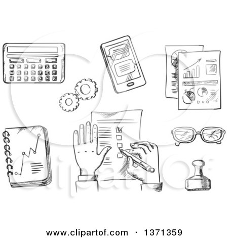 Clipart of a Black and White Sketched Businessman Completing a Check List Surrounded by Analytical Charts, Calendar, Hand Stamp, Eyeglasses, Notebook, Calculator and Tablet - Royalty Free Vector Illustration by Vector Tradition SM
