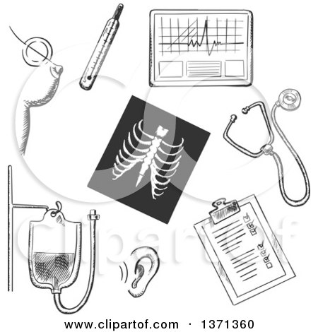 Clipart of a Black and White Sketched Chest X-ray, Thermometer, Blood Test, Stethoscope, Hearing Test, Ecg, Breast Cancer Test and Clipboard with Monitoring Results - Royalty Free Vector Illustration by Vector Tradition SM