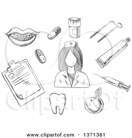 Clipart of a Black and White Sketched Nurse Surrounded by Apple, Notebook, Tablets, Mouth with Braces, Tooth, Instruments and Toothpaste - Royalty Free Vector Illustration by Vector Tradition SM