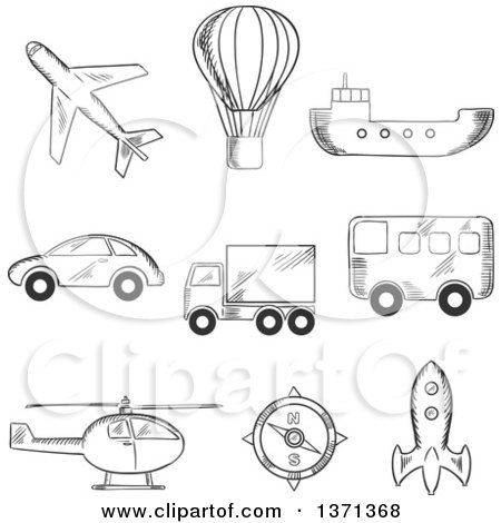 Clipart of a Black and White Sketched Airplane, Hot Air Balloon, Bus, Truck, Car, Compass, Helicopter, Tanker and Space Ship - Royalty Free Vector Illustration by Vector Tradition SM