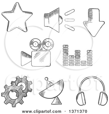 Clipart of Black and White Sketched Satellite, Sound, Movie, Gears, Audio, Star and Download Elements - Royalty Free Vector Illustration by Vector Tradition SM