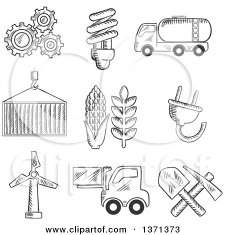 Clipart of Black and White Sketched Machinery, Light Bulb, Mining, Tank Car, Shipping, Wind Turbine, Plug, Forklift and Agriculture Symbols - Royalty Free Vector Illustration by Vector Tradition SM