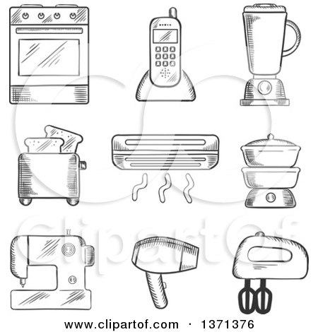 Clipart of a Black and White Sketched Oven, Telephone, Liquidizer, Toaster, Heater, Steamer, Sewing Machine, Hairdryer and Egg Beater - Royalty Free Vector Illustration by Vector Tradition SM