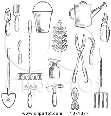 Clipart of a Black and White Sketched Garden Trowel, Knife, Fork, Shears, Rake, Scissors, Spray Bottle, Weeding Hoe, Sickle and Watering Can - Royalty Free Vector Illustration by Vector Tradition SM
