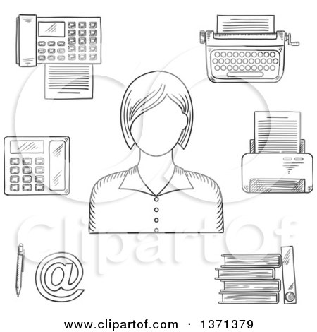 Clipart of a Black and White Sketched Secretary Telephone, Fax, Folders with Documents, Pen, Printer, Mail, Typewriter and Elegant Young Woman - Royalty Free Vector Illustration by Vector Tradition SM