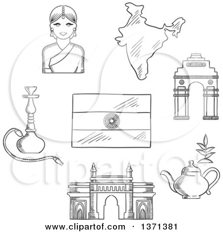 Black and White Sketched Gate Way, Arch, Woman in a Sari, National Flag, Pot of Tea and a Hookah Pipe Posters, Art Prints