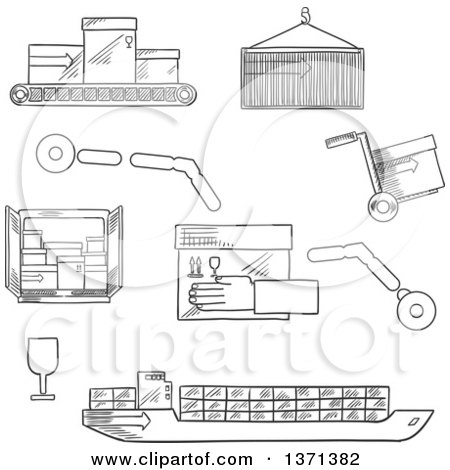 Clipart of a Black and White Sketched Cargo Ship ...