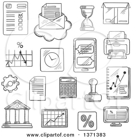 Clipart of a Black and White Sketched Computer, Report, Financial Charts, Graph, Smartphone, Letter and Delivery Box, Bank, Rubber Stamp and Calculator, Wall Clock and Hourglass, Printer, Percent Symbol and Gear - Royalty Free Vector Illustration by Vector Tradition SM