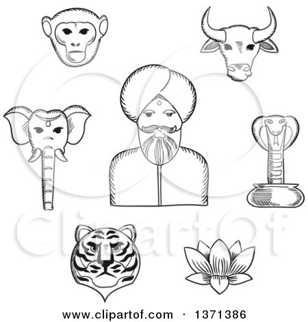 Clipart of a Black and White Sketched Indian Man in Turban with Holy Cow, Elephant, Cobra, Monkey, Lotus, Tiger. for Travel Design Usage - Royalty Free Vector Illustration by Vector Tradition SM