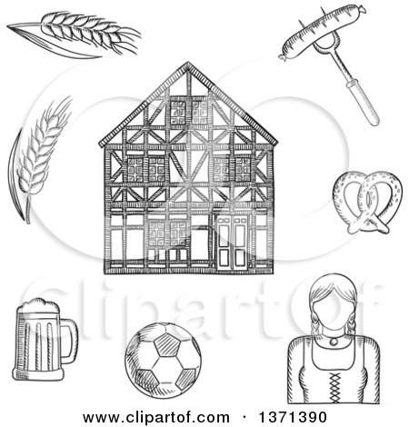 Clipart of a Black and White Sketched Beer Mug, Grilled Sausage, Pretzel, Football Ball, Woman in National Costume, Barley and Traditional German Half-timbered Building - Royalty Free Vector Illustration by Vector Tradition SM
