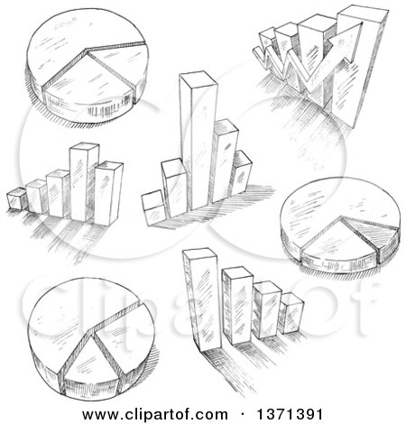 Clipart of a Black and White Sketched Charts and Graphs - Royalty Free Vector Illustration by Vector Tradition SM