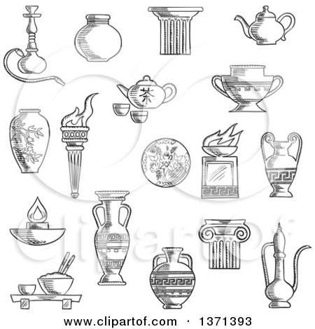 Clipart of a Black and White Sketched Ancient Torch, Stone Fire Bowls, Amphora, Copper and Ceramic Teapots, Oil Lamp, Hookah Pipe, Tea Services, Vases, Jug and Plates - Royalty Free Vector Illustration by Vector Tradition SM