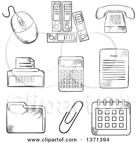 Clipart of a Black and White Sketched Files, Calculator, Printer, Paper Clip, Documents, Calendar, Computer Mouse and Telephone - Royalty Free Vector Illustration by Vector Tradition SM