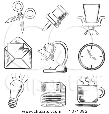 Black and White Sketched Thumb Tack, Scissors, Chair, Mail, Lamp, Clock, Lightbulb and Cup of Tea Posters, Art Prints