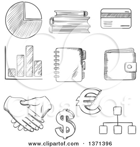 Black and White Sketched Pie and Bar Graph, Dollar and Euro Currency Symbols,bank Credit Card, Purse, Handshake, Flow Charts, Notebook and Books Posters, Art Prints