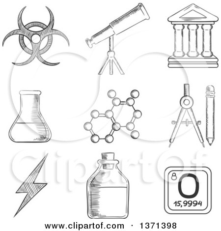Clipart of a Black and White Sketched Telescope, Flask and Tuber, Compasses, Atom, Ancient Temple, Radiation and Power Signs - Royalty Free Vector Illustration by Vector Tradition SM