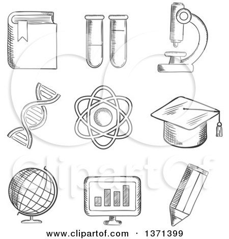 Clipart of a Black and White Sketched Globe, Dna, Atom, Book, Flasks and Tubes, Microscope, Pencil, Computer and Academic Cap - Royalty Free Vector Illustration by Vector Tradition SM