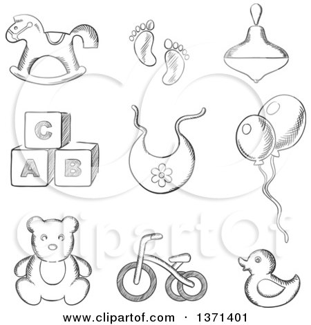 Clipart of a Black and White Sketched Rocking Horse, Duck, Spinning Top, Abc Blocks, Bib, Balloons, Tricycle and Footprints - Royalty Free Vector Illustration by Vector Tradition SM