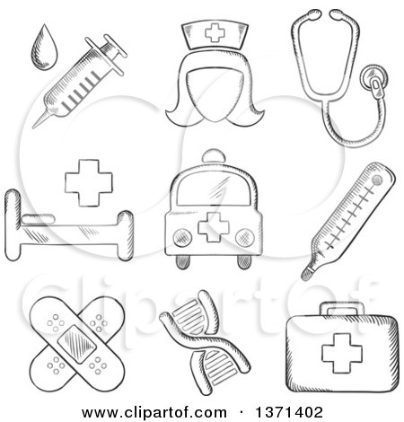 first aid kit coloring pages free - clipart of a black and white sketched syringe nurse