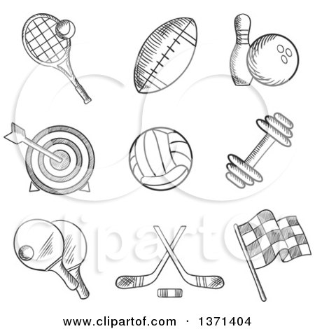 Clipart of Black and White Sketched Tennis, Football, Bowling, Archery, Hockey, Motor Racing, Weight Lifting, Table Tennis, Rugby and Volleyball Items - Royalty Free Vector Illustration by Vector Tradition SM