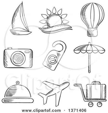 Clipart of a Black and White Sketched Yacht, Hot Air Balloon, Tropical Sun, Camera, Beach Umbrella, Food, Airplane. Luggage and a Do Not Disturb Sign - Royalty Free Vector Illustration by Vector Tradition SM
