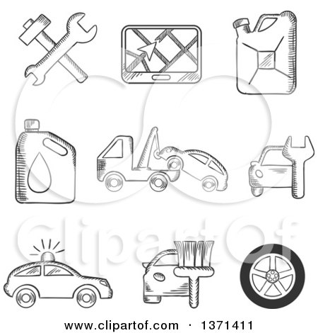 Clipart of Black and White Sketched Tools, Road Sign, Oil and Petrol Containers, Tow Truck, Wheel, Tyre, Jerry Can, Police, Car Wash and Garage - Royalty Free Vector Illustration by Vector Tradition SM