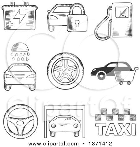 Clipart of a Black and White Sketched Fuel Pump, Security, Battery, Car Wash, Tyre, Purchase, Steering Wheel, Garage and Taxi - Royalty Free Vector Illustration by Vector Tradition SM