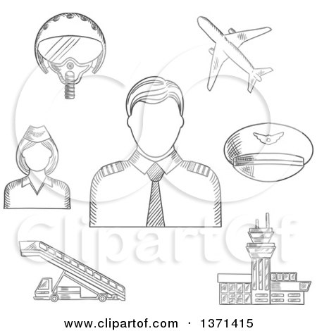 Clipart of a Black and White Sketched Pilot in Uniform Surrounded by Stewardess, Airplane, Flight Helmet, Peaked Cap, Airport Building and Aircraft Steps - Royalty Free Vector Illustration by Vector Tradition SM