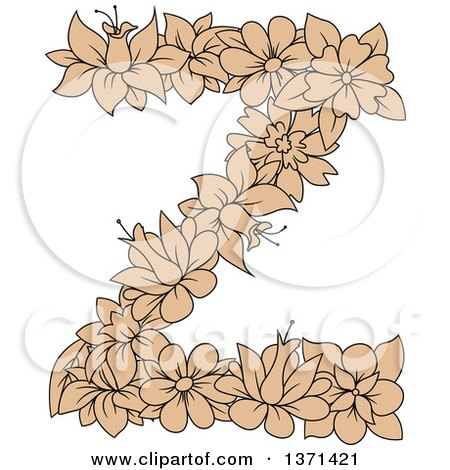 Clipart of a Tan Floral Alphabet Letter Z - Royalty Free Vector Illustration by Vector Tradition SM