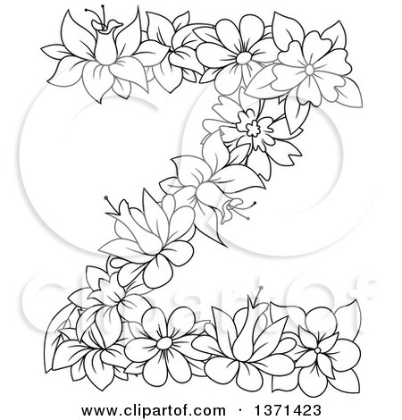 Clipart of a Black and White Lineart Floral Alphabet Letter Z - Royalty Free Vector Illustration by Vector Tradition SM
