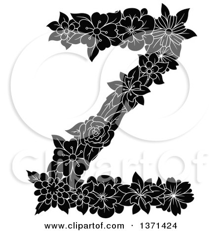 Clipart of a Black and White Floral Alphabet Letter Z - Royalty Free Vector Illustration by Vector Tradition SM