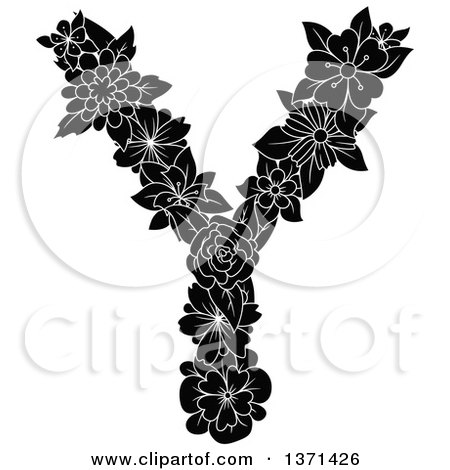 Clipart of a Black and White Floral Uppercase Alphabet Letter Y - Royalty Free Vector Illustration by Vector Tradition SM