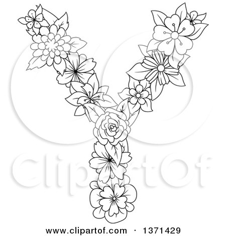 Clipart of a Black and White Lineart Floral Uppercase Alphabet Letter Y - Royalty Free Vector Illustration by Vector Tradition SM
