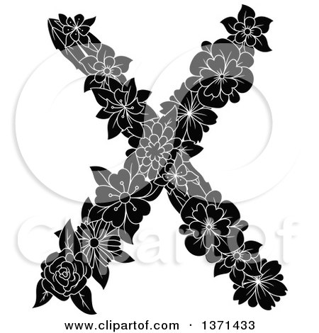 Clipart of a Black and White Floral Alphabet Letter X - Royalty Free Vector Illustration by Vector Tradition SM