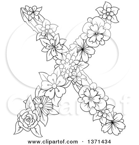 Clipart of a Black and White Lineart Floral Alphabet Letter X - Royalty Free Vector Illustration by Vector Tradition SM