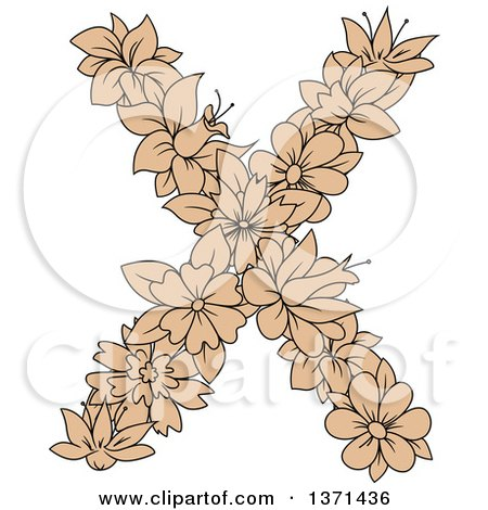 Clipart of a Tan Floral Alphabet Letter X - Royalty Free Vector Illustration by Vector Tradition SM