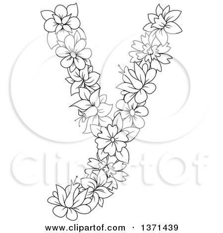 Clipart of a Black and White Lineart Floral Lowercase Alphabet Letter Y - Royalty Free Vector Illustration by Vector Tradition SM