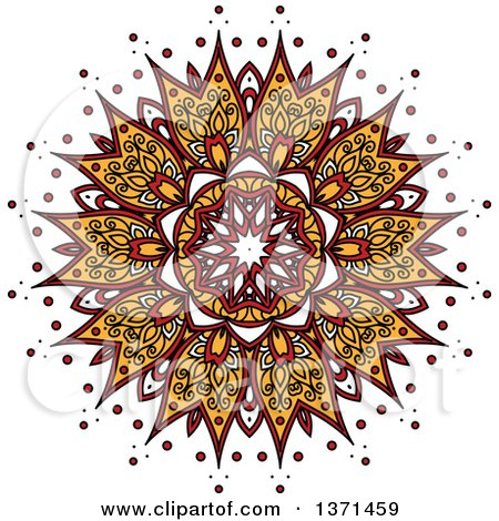 Clipart of a White Yellow and Red Kaleidoscope Flower - Royalty Free Vector Illustration by Vector Tradition SM