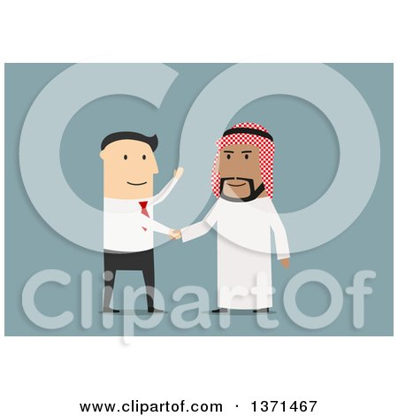 Clipart of a Flat Design White Business Man Shaking Hands with an Arabian Man, on Blue - Royalty Free Vector Illustration by Vector Tradition SM