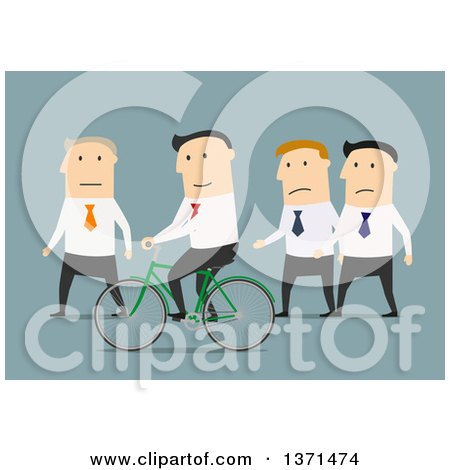 Clipart of a Flat Design White Business Man Riding a Bike Around Others, on Blue - Royalty Free Vector Illustration by Vector Tradition SM