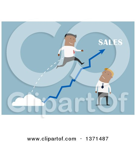 Clipart of a Flat Design Team of Black Business Men with a Sales Arrow, on Blue - Royalty Free Vector Illustration by Vector Tradition SM