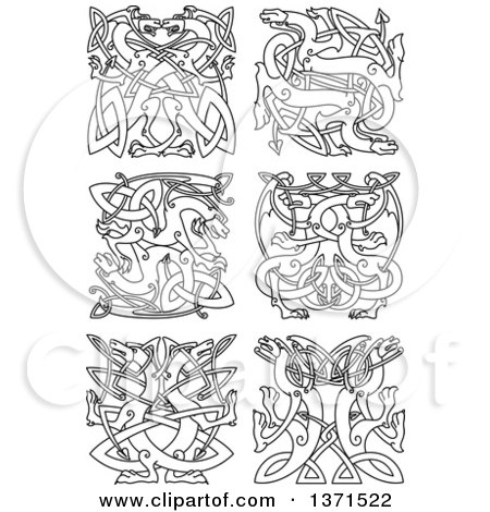 Clipart Of Black And White Lineart Celtic Dragon Knot