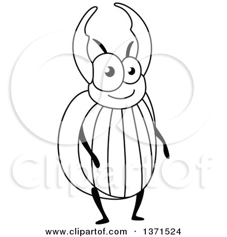 Clipart of a Cartoon Black and White Happy Stag Beetle - Royalty Free Vector Illustration by Vector Tradition SM